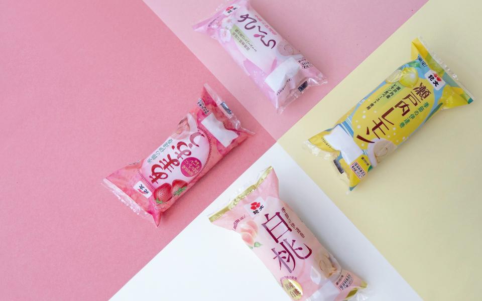 伊達巻きのパッケージデザイン。瀬戸内レモン、白桃、あまおう、桜、紀文食品「季節の伊達巻」シリーズのパッケージデザイン。それぞれの素材をイメージしたパッケージデザイン。package design